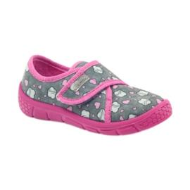 Befado buty dziecięce kapcie 557X041 szare różowe 1