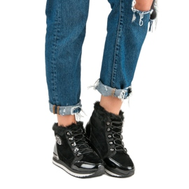 Aclys Modne Wiązane Sneakersy czarne 4
