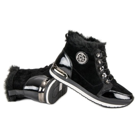 Aclys Modne Wiązane Sneakersy czarne 3