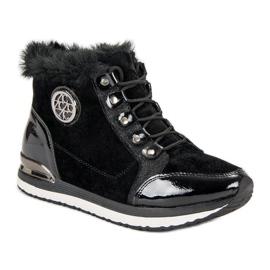 Aclys Modne Wiązane Sneakersy czarne 1
