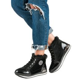 Aclys Modne Wiązane Sneakersy czarne 5