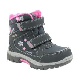 American Club American kozaki buty zimowe z membraną 3121 szare różowe 1