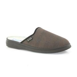 Befado buty męskie kapcie zdrowotne klapki 125m012 czarne brązowe 1