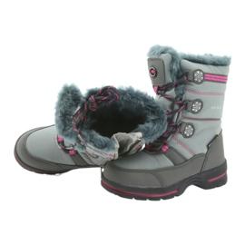 American Club American buty zimowe z membraną 702SB szare różowe 4