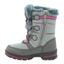 American Club American buty zimowe z membraną 702SB szare różowe 2