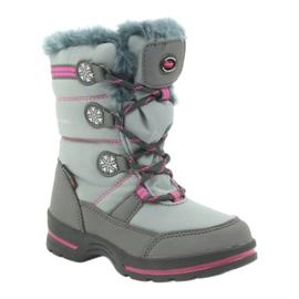American Club American buty zimowe z membraną 702SB szare różowe 1
