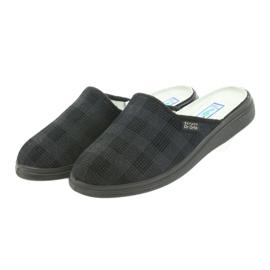 Befado obuwie męskie125m klapki kapcie zdrowotne czarne szare 3
