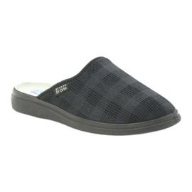 Befado obuwie męskie125m klapki kapcie zdrowotne czarne szare 1