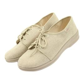 Befado buty męskie półbuty pu 630M007 beżowy 3