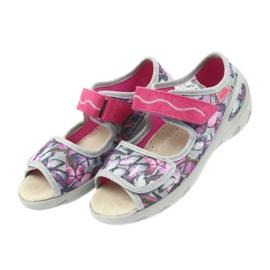Befado obuwie dziecięce sandałki wkładka skórzana 433X029 fioletowe szare różowe 4