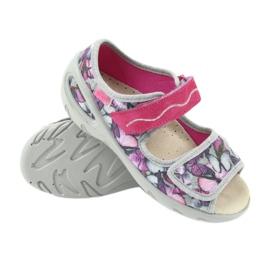 Befado obuwie dziecięce sandałki wkładka skórzana 433X029 fioletowe szare różowe 3