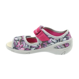 Befado obuwie dziecięce sandałki wkładka skórzana 433X029 fioletowe szare różowe 2