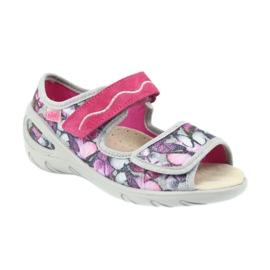 Befado obuwie dziecięce sandałki wkładka skórzana 433X029 fioletowe szare różowe 1