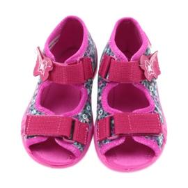 Befado buty dziecięce kapcie sandałki 242p072 szare wielokolorowe różowe 4