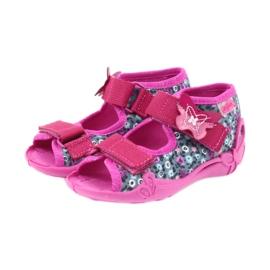 Befado buty dziecięce kapcie sandałki 242p072 szare wielokolorowe różowe 3