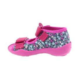 Befado buty dziecięce kapcie sandałki 242p072 szare wielokolorowe różowe 2