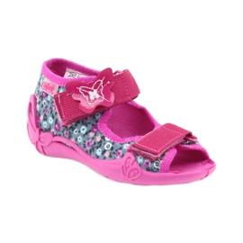 Befado buty dziecięce kapcie sandałki 242p072 szare wielokolorowe różowe 1