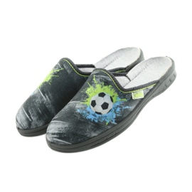Befado buty dziecięce kapcie klapki 707Y395 niebieskie szare zielone 4
