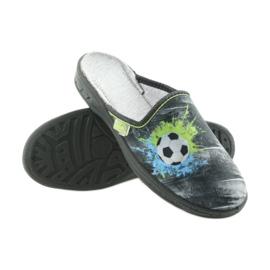 Befado buty dziecięce kapcie klapki 707Y395 niebieskie szare zielone 3
