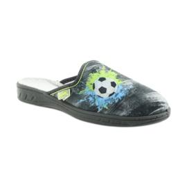 Befado buty dziecięce kapcie klapki 707Y395 niebieskie szare zielone 1