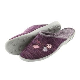 Befado buty damskie kapcie 235d152 fioletowe 4