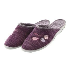 Befado buty damskie kapcie 235d152 fioletowe 3