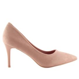 Wygodne czółenka na szpilce różowe LE012P Pink 4