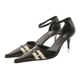 Sandały czarne skórzane damskie Eksbut 076 brązowe 4