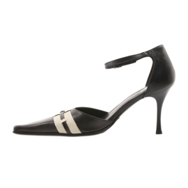 Sandały czarne skórzane damskie Eksbut 076 brązowe 2