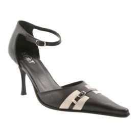 Sandały czarne skórzane damskie Eksbut 076 brązowe 1