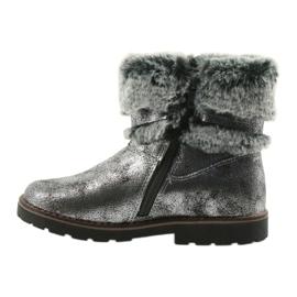 American Club American kozaki buty zimowe z futerem 17042 czarne szare 2