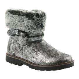 American Club American kozaki buty zimowe z futerem 17042 czarne szare 1