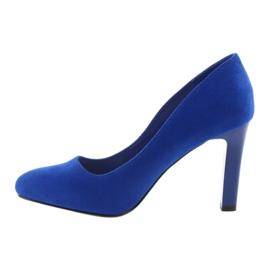 Sergio Leone Czółenka zamszowe 1457 niebieskie 2