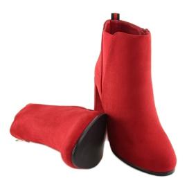 Botki na obcasie czerwone A5580 Red 4