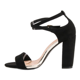 Sandały Na Słupku VINCEZA czarne 3