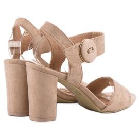 Beżowe Sandały Na Słupku VINCEZA brązowe 4