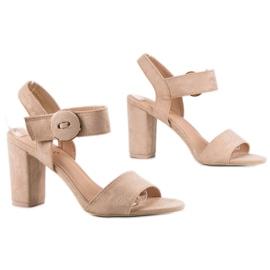 Beżowe Sandały Na Słupku VINCEZA brązowe 5