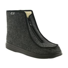 Befado buty męskie pu ciepłe kapcie 996M004 szare 1