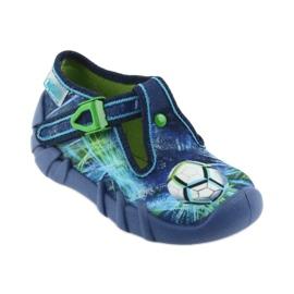 Befado buty dziecięce kapcie 110P339 niebieskie zielone granatowe 1
