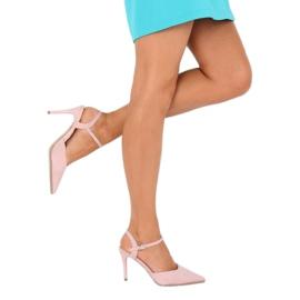 Sandałki na szpilce różowe J1126-1 Pink 5