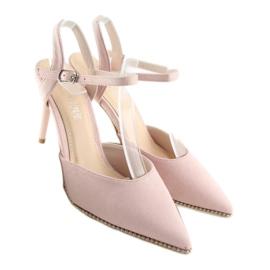 Sandałki na szpilce różowe J1126-1 Pink 4