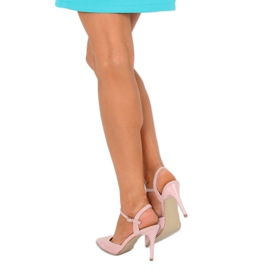 Sandałki na szpilce różowe J1126-1 Pink 1