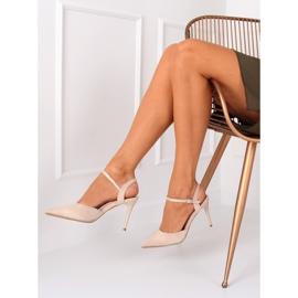 Sandałki na szpilce beżowe J1126-1 Beige beżowy 6