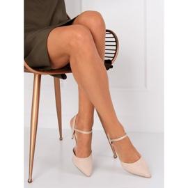 Sandałki na szpilce beżowe J1126-1 Beige beżowy 3