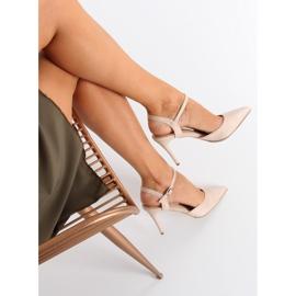 Sandałki na szpilce beżowe J1126-1 Beige beżowy 2