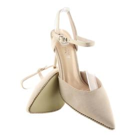 Sandałki na szpilce beżowe J1126-1 Beige beżowy 4