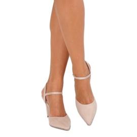 Sandałki na szpilce beżowe J1126-1 Beige beżowy 7