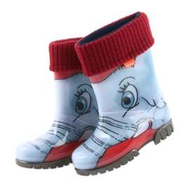 Demar buty dziecięce kalosze ze skarpetą niebieskie szare czerwone 4