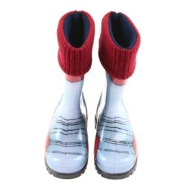 Demar buty dziecięce kalosze ze skarpetą niebieskie szare czerwone 3
