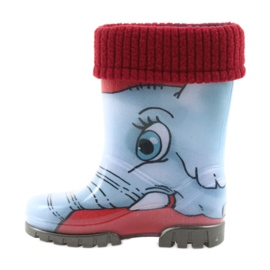 Demar buty dziecięce kalosze ze skarpetą niebieskie szare czerwone 2